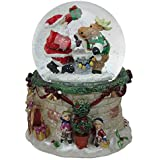 Northlight 6インチ サンタとトナカイのクリスマス音楽LEDライト スノーグローブ
