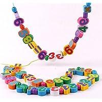 ひも通し創意積み木知育玩具木製勉強数字 幼児教育キッズ 子供3歳からプレゼント おもちゃ遊具遊んで学ぼうさまざまな能力の発育を促進
