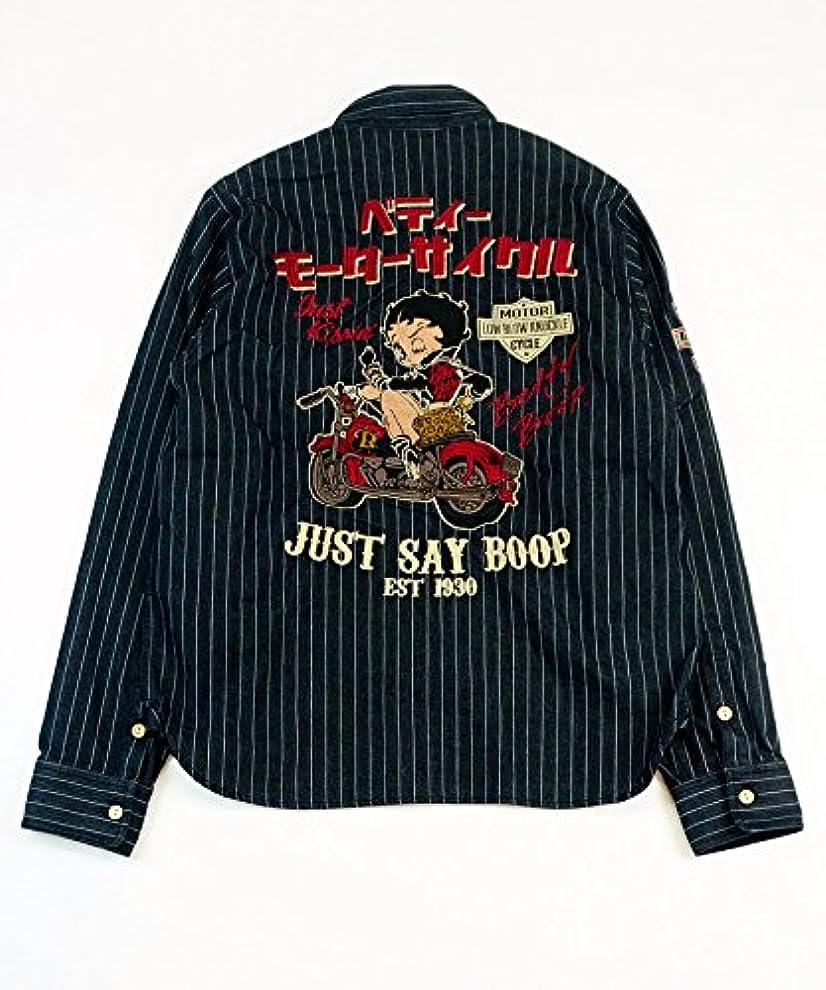 海洋ヒゲ背景BETTY BOOP (ベティーブープ) LOWBLOW KNUCKLE(ローブローナックル) コラボ ベティー モーターサイクル WABASH ワークシャツ 刺繍 長袖 高品質/567402