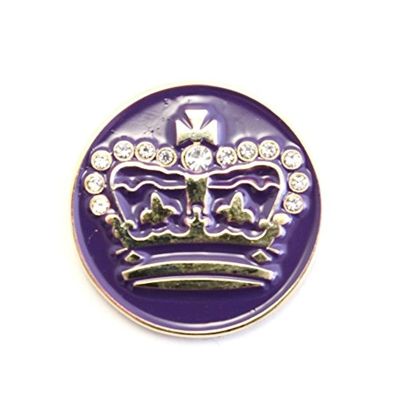 見えない下位家庭教師ゴルフボールマーカー クラウン/王冠 パープル Crown purple ゴルフボール型ハットクリップ付