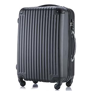 (トラベルデパート) 超軽量スーツケース TSAロック付 (SSサイズ(機内持込/LCC対応), ブラック)