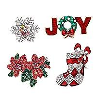 CEALXHENY クリスマスブローチピンセット クリスタルクリスマスツリー 雪の結晶 トナカイ ジングルベル ブローチ ホリデーパーティーギフト レディース ガールズ