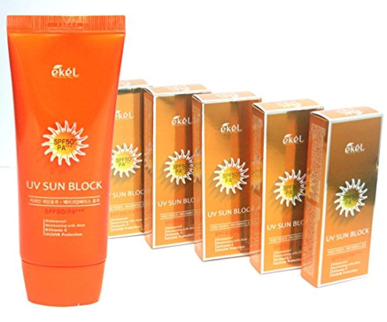 温度計戦争分離する[EKEL] アロエ&ビタミンE日焼け止めクリームSPF50 PA+++70ml X 5EA / Aloe & Vitamin E Sun Block Cream SPF50 PA+++ 70ml X 5EA / UVプロテクション...