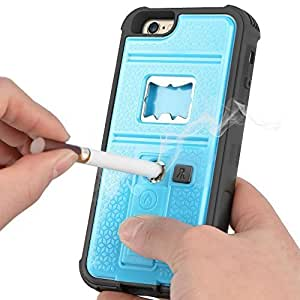 Newly High Quality ZVE?Multifunctional Cigarette Lighter Cover for iPhone 6 Plus 5.5'' Built-in Cigarette Lighter/bottle Opener/Camera Stable Tripod/Shockproof Case (Blue-iPhone 6 plus 5.5'') by ZVE [並行輸入品]