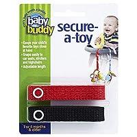 Baby Buddy(ベビーバディ) Secure-A-Toy 2ct おもちゃストラップ2色各1本組 レッド/ブラック 2本