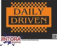 JINTORA ステッカー/カーステッカー - driven daily big - 毎日大きく動く - 191x99 mm - JDM/Die cut - 車/ウィンドウ/ラップトップ/ウィンドウ - オレンジ