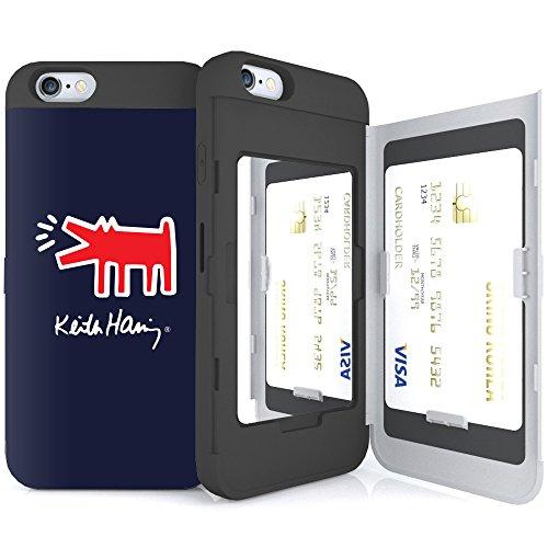 iPhone6S ケース 《SKINU》 キースへリング・KEITH HARING・カード収納可能・衝撃吸収抜群・傷防止・ミラー付き・スタンド機能・ICカード/クレジットカード完璧収納 (Barking Dog)