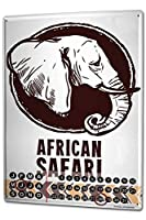 カレンダー Perpetual Calendar Nursery Animal Elephant African Safari Tin Metal Magnetic