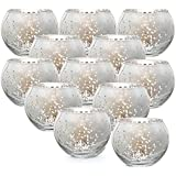 Votive Candle Holders, Mercury Glass Tealight Candle Holder Set of 12, Perfect Centerpieces for Wedding, Party, Home Decor (S