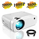 "Mini Projector, DracoLight 3600 Lumens Portable Projector Ideal 180"" Display 50000 Hours Lamp Life LED Video Projector Support 1080P, Compatible with USB/HD/SD/AV/VGA for Home Theater (White)"