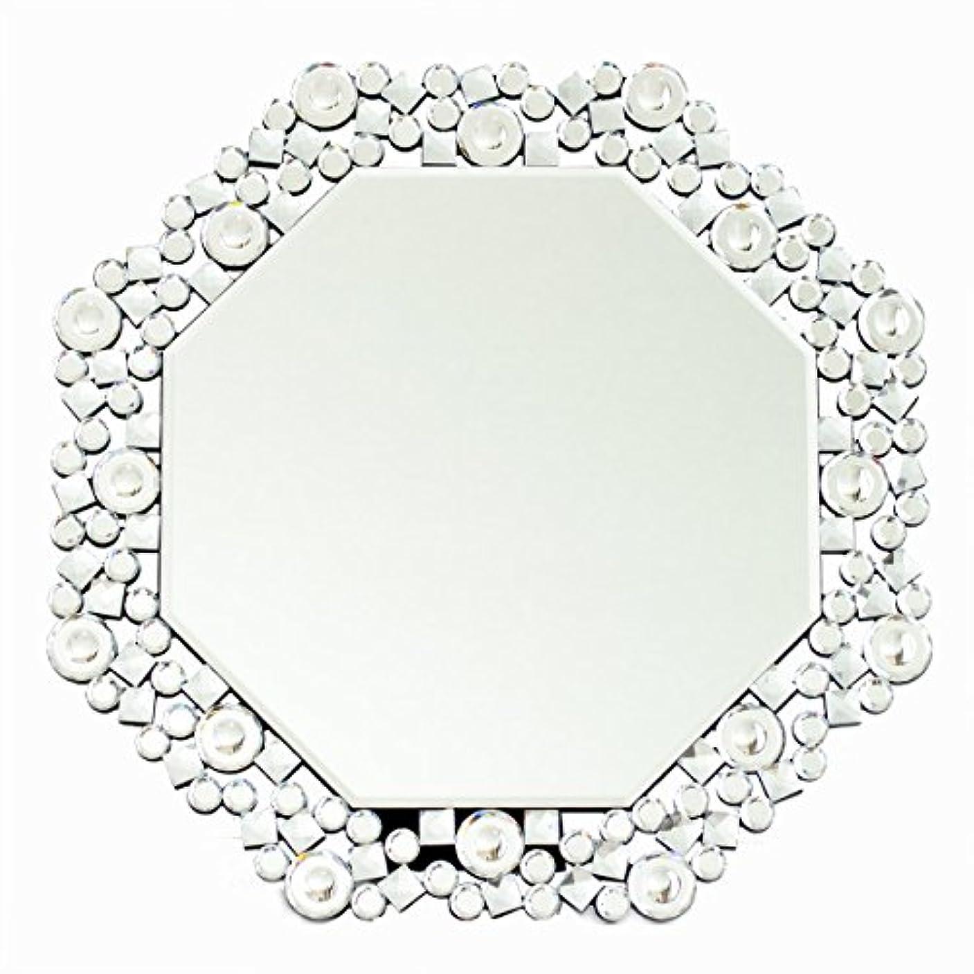 憤る円形異常クロシオ テーブル ミラー 8角 Octa クリスタル 幅51.5cm 卓上ミラー 壁掛けミラー 豪華 ラグジュアリー 081016