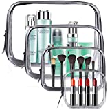 Meowoo Clear Cosmetic Bag, 4 Pcs Waterproof PVC Zippered Toiletry Carry Pouch Portable Makeup Bag Organizer Bag Set for Trave
