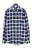 (エルメス)HERMES 【15AW】セリエボタンチェック柄ネル長袖シャツ(38/ネイビー×パープル) 中古