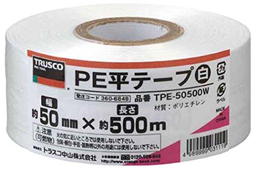 トラスコ中山 PE平テープ 幅50mmX長さ500m 白 TPE-50500W 1セット 4個:1個×4巻 360-6848