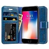 Labato iPhone8 ケース 手帳型 iphone7カバー 本革レザー TPU スタンド カードポケット アイフォン8ケース 財布型 手作り ハンドメイド 耐摩擦 耐汚れ 全面保護 フリップ 人気 (lbt-IP8-05Z46, ブルー)