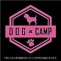 ミニチュア・シュナウザー DOG × CAMPステッカー ペット キャンプ カッティングシート (ピンク)