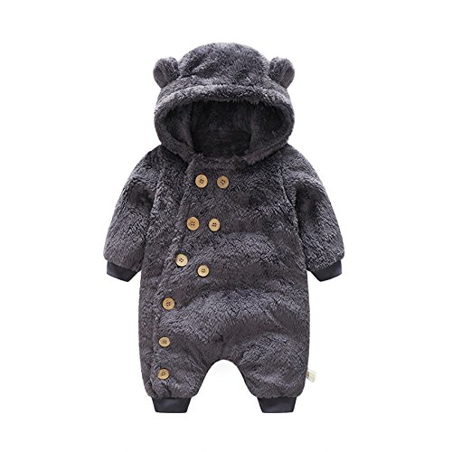 ベビー服 乳児服 ロンパース カバーオール ふわふわ 着ぐるみ パジャマ 冬 (80cm/6-12ヶ月)