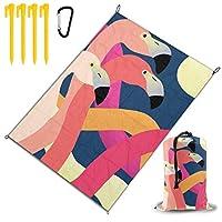 カラフルなフラミンゴ レジャー旅行シートピクニックマット防水145×200センチ折りたたみキャンプマット毛布オーニングテントライトと収納が簡単ポータブル巾着