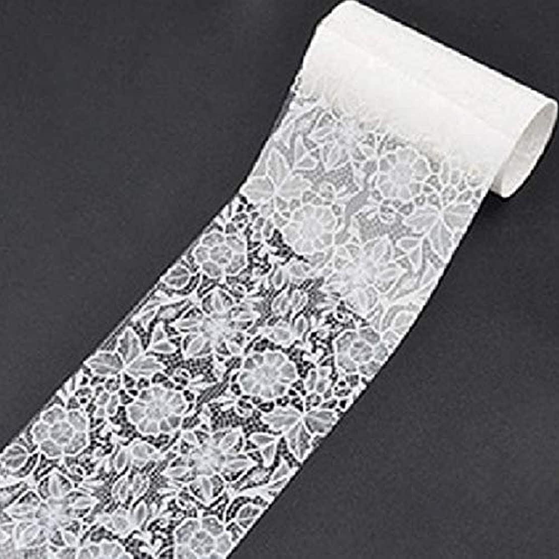 振り向く積極的にまだQuzama-JS 古典的な白いレースの花の爪箔転送(None 8)