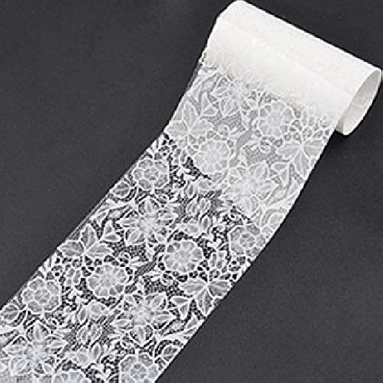 レモン本気ファッションQuzama-JS 古典的な白いレースの花の爪箔転送(None 8)