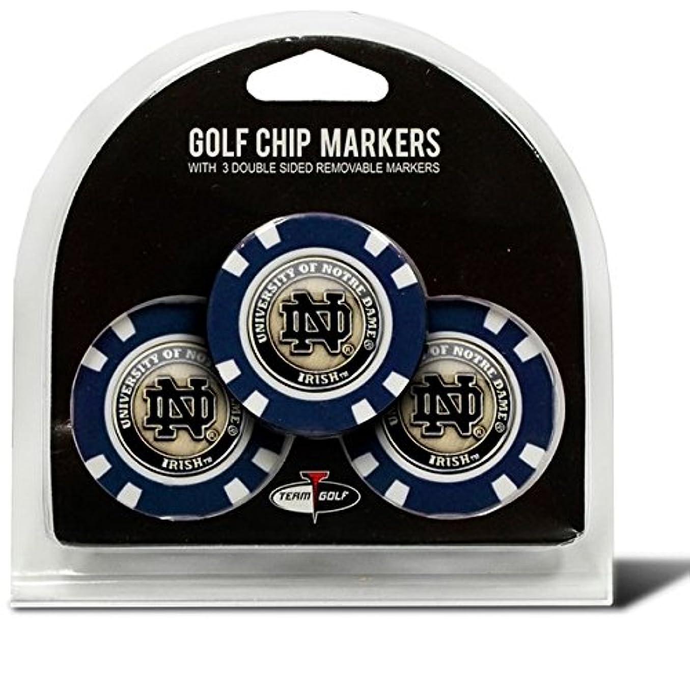 水っぽい自動車住むノートルダムのセット3 Chips with removableゴルフボールマーカー