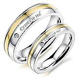 Rockyu ジュエリー チタン ペアリング メンズ レディース ゴールド ジルコニア ブランド リング おしゃれ 刻印 CZ 結婚 指輪
