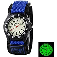MIE Kids Children Nylon Strap Luminous Outdoor Sports Analog Display Watch For Boys Girls - Blue