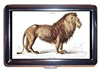 ライオンFelis Leo Victorian 1800sアンティークカラー:ステンレススチールIDまたはCigarettesケース( Kingサイズまたは100mm )