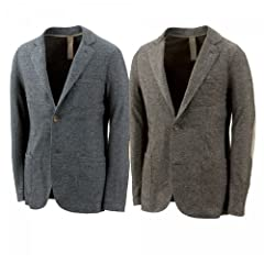 Eleventy Jersey 2-button Jacket: Grey, Brown