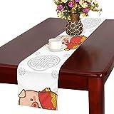 GGSXD テーブルランナー おかしい 豚 クロス 食卓カバー 麻綿製 欧米 おしゃれ 16 Inch X 72 Inch (40cm X 182cm) キッチン ダイニング ホーム デコレーション モダン リビング 洗える