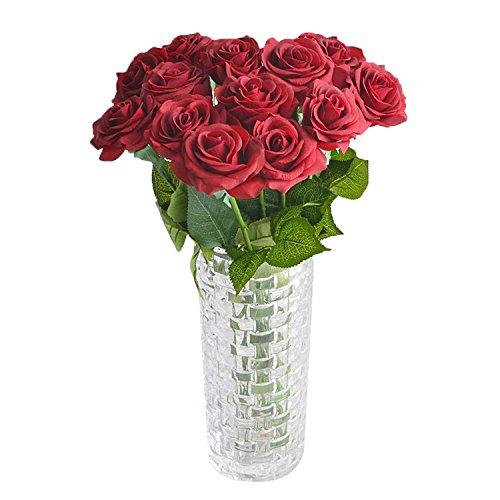 YideaHome ローズ バラの蕾 造花 高品質 手作り インテリア 本物そっくり きれい フラワーアレンジ 結婚式 お祝い 飾り ギフトなどにお勧め 10本セット