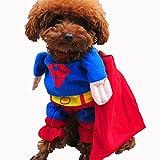 ドッグウェア 変身服 犬コスプレ 犬服のトレーナー コスプレペット服 スコスチューム 16種類 変身服 XS->XL サイズ【Justgreat】(スーパーマン,L)