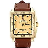 Lancardo Men's Gold Tone Large Square Face Japan Quartz Watch, 30M Water Resistant, Leather Strap