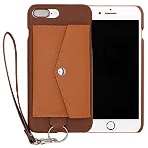 RAKUNI Light PU Leather Case Pocket Type with Strap for iPhone 7 Plus (ブラウン) PUレザー カードケース カバー ストラップホール付き RCP-7P-BR