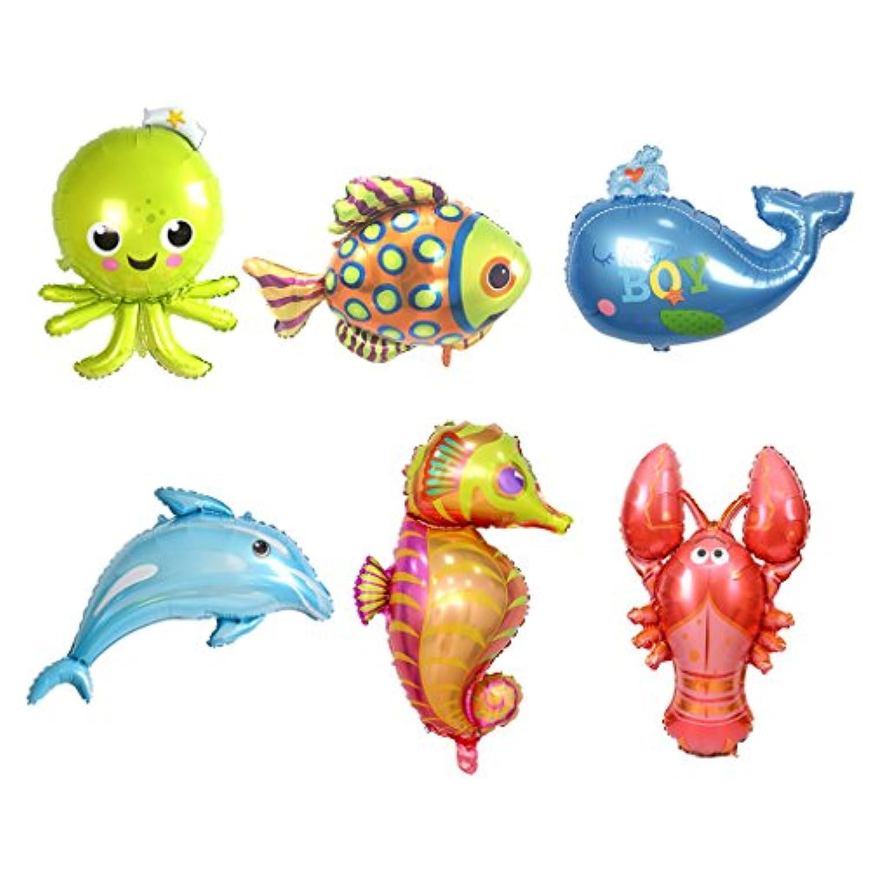 Homyl 風船 バルーン 海の動物 ドルフィン タコ 魚 カラフル 飾り付け 子供誕生日 テーマパーティー 装飾 6個セット