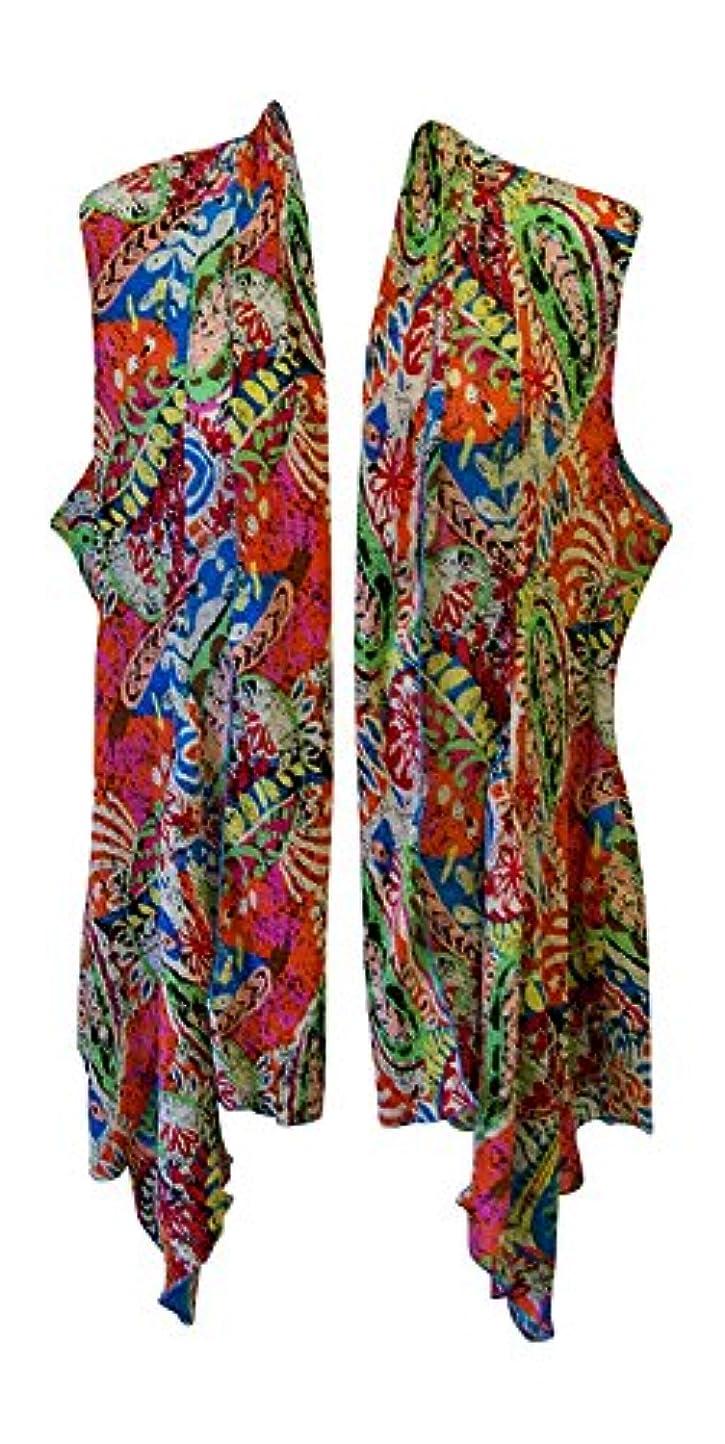 真夜中喉頭リーガンPleats Collection Women's Pleated Swing Vest Plus Size (1X Paisley Print) [並行輸入品]