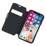 HYBRID CARD FOLIO 耐衝撃・手帳型ケース for iPhone X ワイヤレス充電対応 カードポケット - ブラック TUN-PH-000572