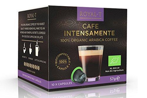 ロイヤルT ネスプレッソマシン専用 有機アラビカコーヒー カフェ インテンサメンテ 10カプセルパック (アルミニウム不使用・植物由来のプラスチックを使ったカプセル)