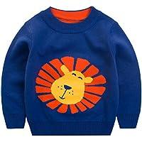 [スゴフィ]SGFY セーター ボーイズ ガールズ ベビー キッズ コットン ニット 男の子 子供服 女の子 ライオン柄 ストライプ トップス クルーネック アニマル柄 獅子 しし 2色