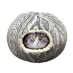 ペットベッド ペットハウス ベッド 猫ベッド ペット用寝袋 ペット用クッション 休憩所 ドーム型 寒さ対策 洗える 犬 猫 手編みニット風 2WAY