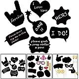 UTOPP 写真ブース用小道具 30個入り DIY用 黒 段ボール製 写真撮影用小道具 面白メガネ 交換 テーマ パーティー用品 誕生日 結婚式 独身パーティーゲーム 写真小道具