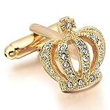 MFYS Jewelry  クリスタル ゴールド 王冠 カフス(カフスボタン・カフリンクス)   専用ジュエリーBOX付