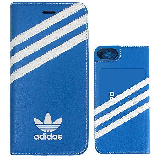 TeamS(チームエス) adidas アディダス iPhone7 ケース ブランド 手帳型 スマホケース アイホン7 ケース 3ストライプ ブルー/ホワイト 当店オリジナルフィルム付き [並行輸入品]