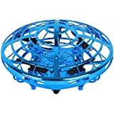 Children's Mini Drone - Hands-Free Hover Drone Portable Pocket Quad Axis 360° Rotating and Shining LED Lights UFO Toys Smart Sensor Airplane Boys Girls and Children's Gifts (Color : Blue)