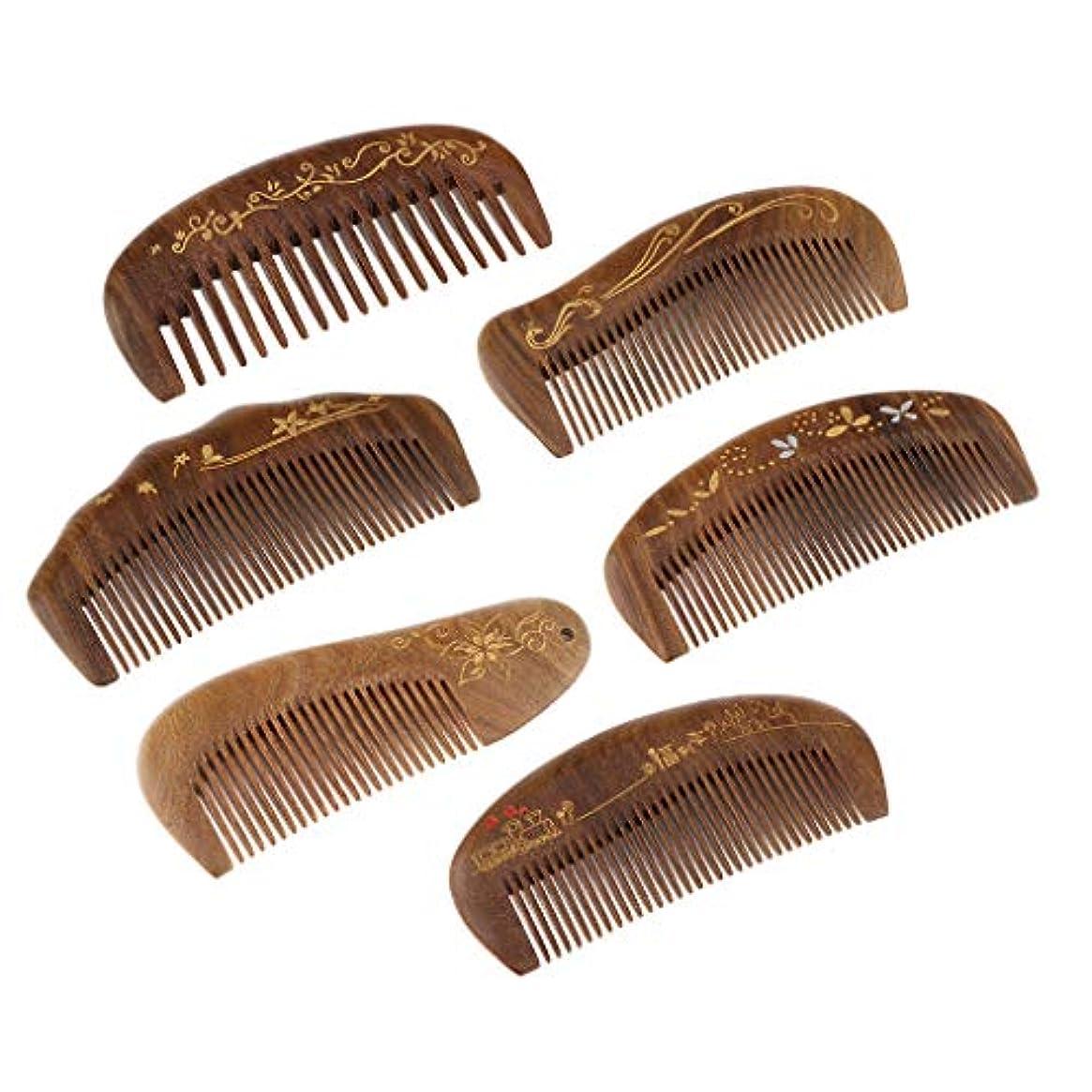 キャップ有用普通のB Blesiya 7点 ウッド製 髪櫛 ヘアコーム ヘアブラシ マッサージコーム