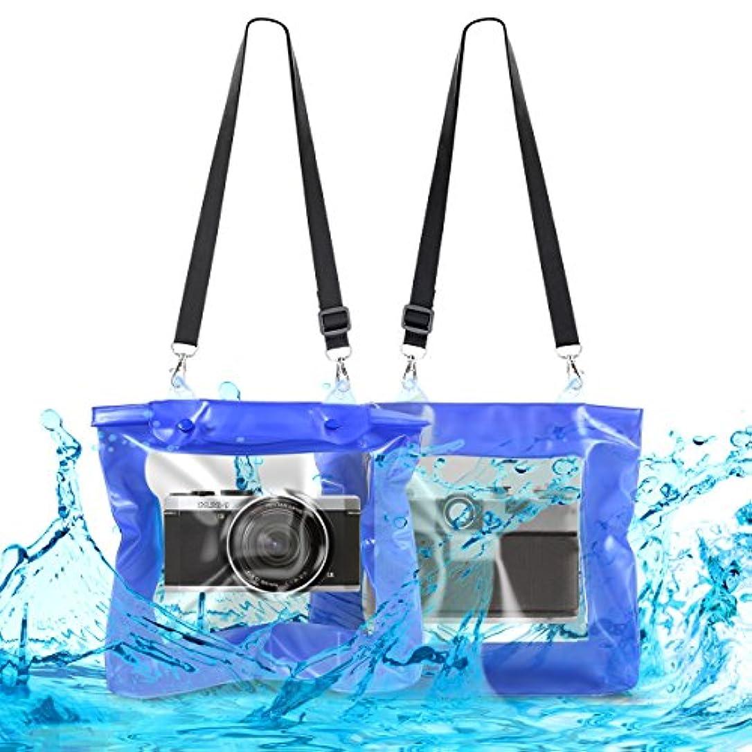 自伝上げる最適kwmobile 防水 カメラ ビーチバッグ 雨よけ 水中バッグ - レジャー バッグ 浜辺バッグ - デジカメ 保護ケース レンズスペース 付き