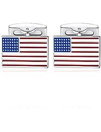 Honey Bear American USA Flag Cufflinks for Mens, Stainless Steel, for Business Wedding Gift(Silver)
