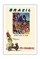 ブラジル - リオのカーニバル - パンアメリカン航空 - ビンテージな航空会社のポスター によって作成された ウィリアム・リンジー・プレスコット c.1960 - アートポスター - 76cm x 112cm