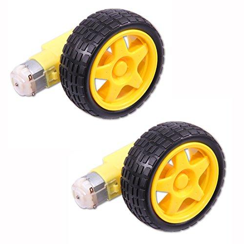 HiLetgo® 2個セット スマートかーロボットプラスチックタイヤホイールDC 3-6Vギアモーターと付属 ロボット65*27MM