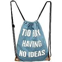 C-Princess デニム風 リュック ナップサック 巾着型 巾着袋 バックパック カバン 軽量 かわいい レディース 登山 お着替え袋 携帯用 (デザインJ)